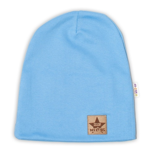Baby Nellys Hand Made Dětská funkční čepice s dvojitým lemem - sv. modrá