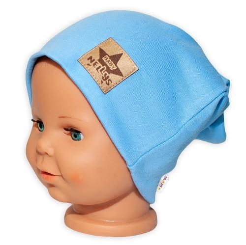Baby Nellys Hand Made Dětská funkční čepice s dvojitým lemem - sv. modrá, obvod: 52-54cm, Velikost: 52/54 čepička obvod