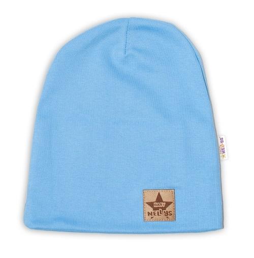 Baby Nellys Hand Made Dětská funkční čepice s dvojitým lemem - sv. modrá, obvod: 52-54cm