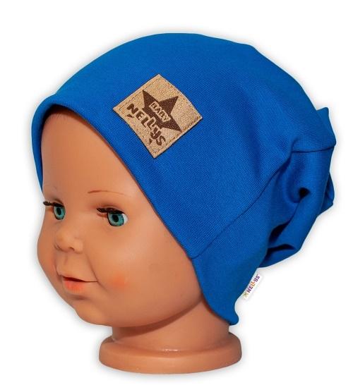 Baby Nellys Hand Made Dětská funkční čepice s dvojitým lemem - tm. modrá, obvod: 52-54cm