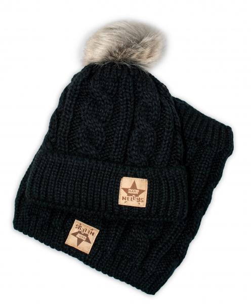 BABY NELLYS Zimní pletená čepice s bambulí + komínek, černá, Velikost: 48/50 čepičky obvod