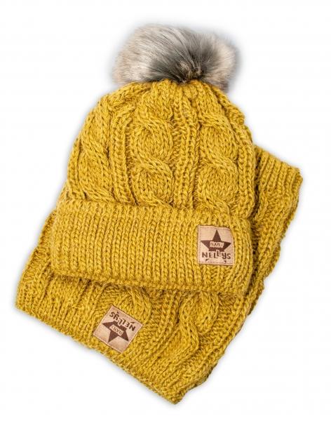 BABY NELLYS Zimní pletená čepice s bambulí + komínek, khaki - vel. 52-56cm, Velikost: 52/56