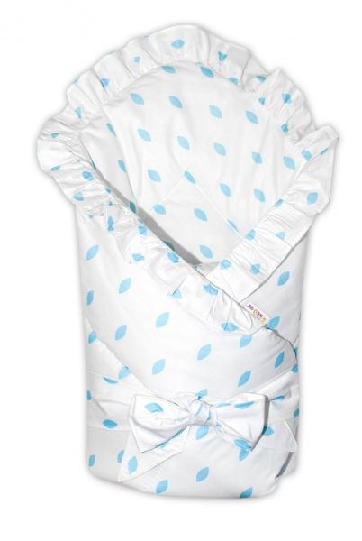 Baby Nellys  Rychlozavinovačka 80x80cm s volánkem a stuhou - bílá, lístečky modré