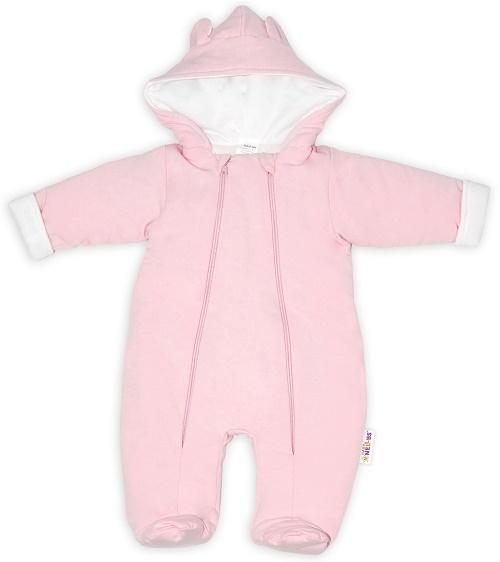 Baby Nellys ® Kombinézka s dvojitým zapínáním, s kapucí a oušky, sv. růžová, vel. 62