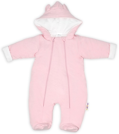 Baby Nellys ® Kombinézka s dvojitým zapínáním, s kapucí a oušky, sv. růžová, vel. 74