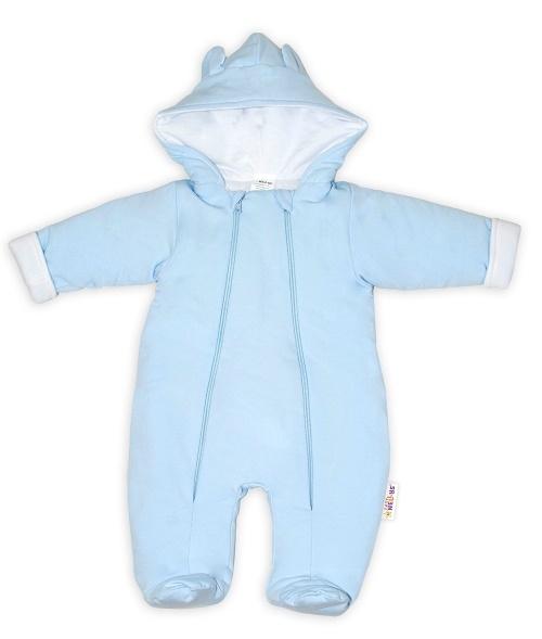 Baby Nellys ® Kombinézka s dvojitým zapínáním, s kapucí a oušky, sv. modrá, vel. 74