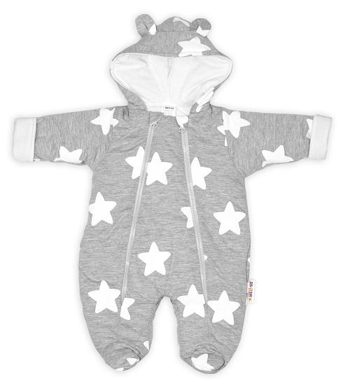 Baby Nellys ® Kombinézka s dvojitým zapínáním, s kapucí a oušky, Stars - šedá, vel. 68