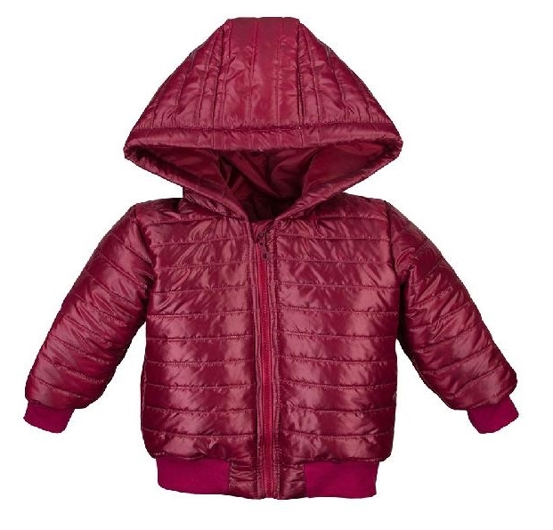 EEVI Dětská přechodová, prošívaná bunda s kapucí - bordo, vel. 92