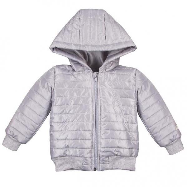 EEVI Dětská přechodová, prošívaná bunda s kapucí - šedá, vel. 92