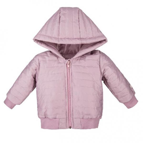 EEVI Dětská přechodová, prošívaná bunda s kapucí - šeříková, vel. 92