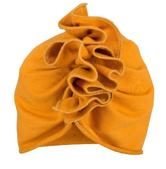 EEVI Dětská jarní/podzimní bavlněná čepice - turban, hořčicová, 44-48 cm, 3-7let, Velikost: 3-7 let