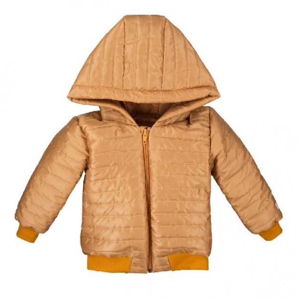 EEVI Dětská prošívaná přechodová bunda s kapucí - hořčicová