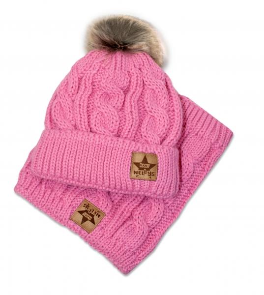 BABY NELLYS Zimní pletená čepice s bambulí + komínek, růžová, obvod: 52-56cm