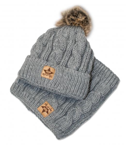 BABY NELLYS Zimní pletená čepice s bambulí + komínek, šedá, Velikost: 48/50 čepičky obvod