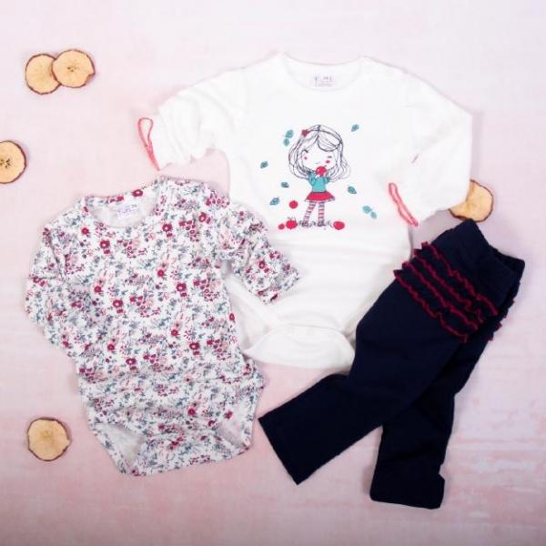 K-Baby 3 dílná sada - 2x body dl. rukáv,legíny, Děvčátko a podzim - bílá, granát, vel. 80, Velikost: 80 (9-12m)