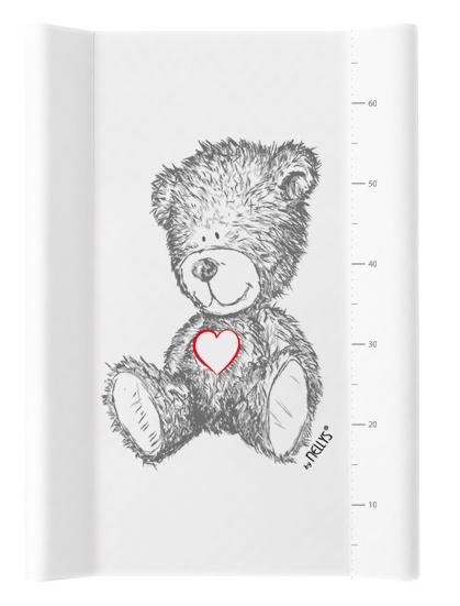 NELLYS Přebalovací podložka , tvrdá MDF, vyvýšené boky, TEDDY, 50 x 70cm, bílá