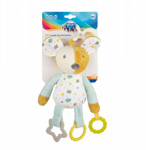 Canpol babies Závěsná plyšová hračka s kousátky a chrastítkem - Myška