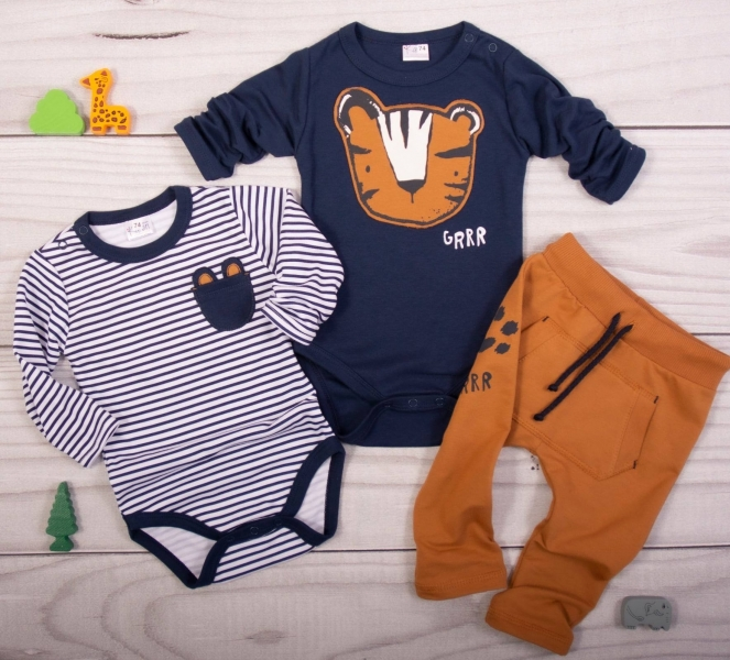 K-Baby 3 dílná sada - 2x body dl. rukáv,tepláky, Boy Tiger - proužky, granát, hnědá