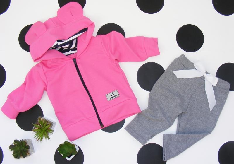 G-baby Bavlněná tepláková souprava s kapucí Ouško, růžovo-šedá