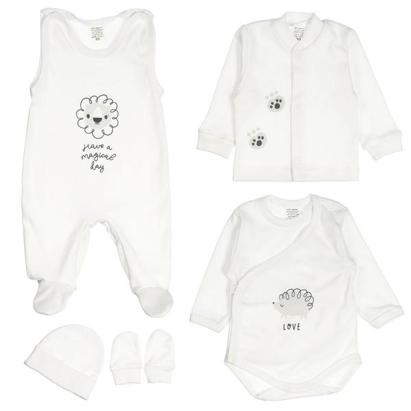 MBaby 5D Soupravička do porodnice - Animals, bílá