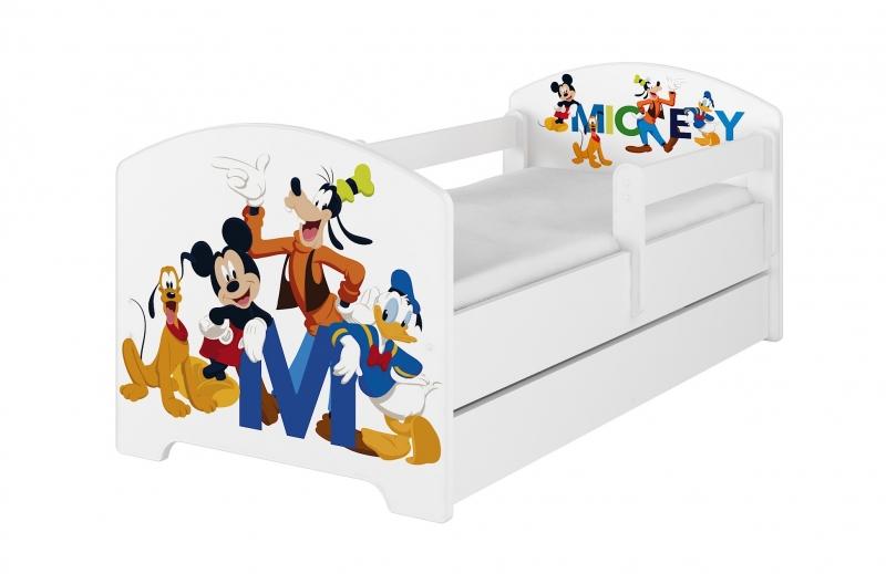 BabyBoo Dětská postel Disney - Mickey s kamarády - bílá, s matrací + šuplík