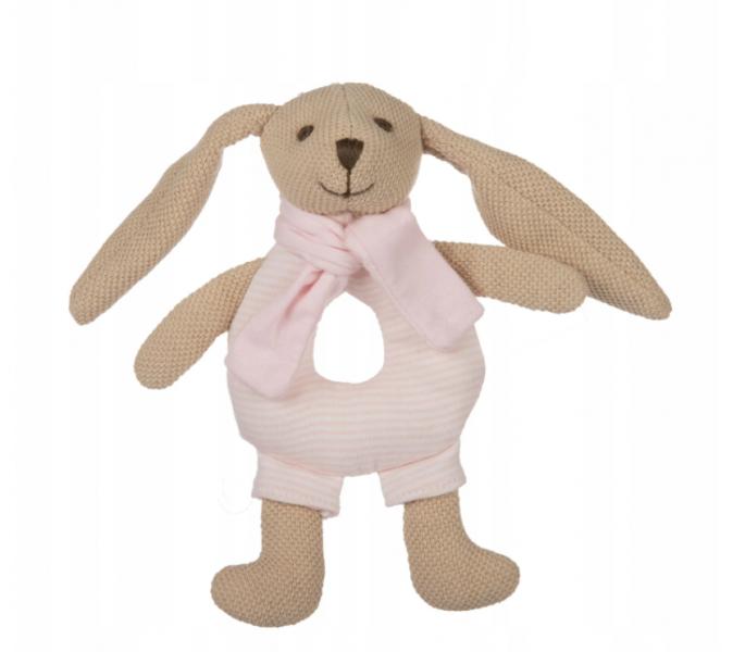Canpol babies Plyšová hračka s chrastítkem - Králiček - růžový