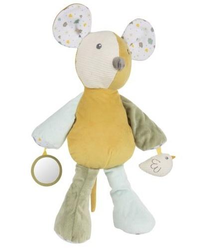 Canpol babies Závěsná plyšová hračka se zrcátkem a chrastítkem - Myška