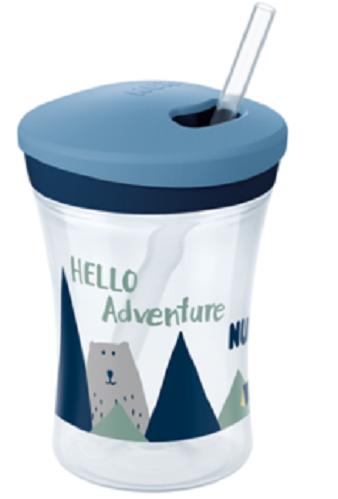 Nekapající hrneček NUK Action Cup se slámkou, Hello Adventure - HORY, 230ml, 12m+
