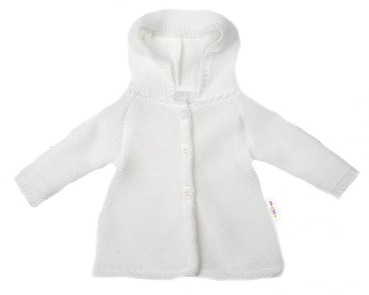 Baby Nellys Kojenecký svetřík s kapucí, áčkový střih - bílý