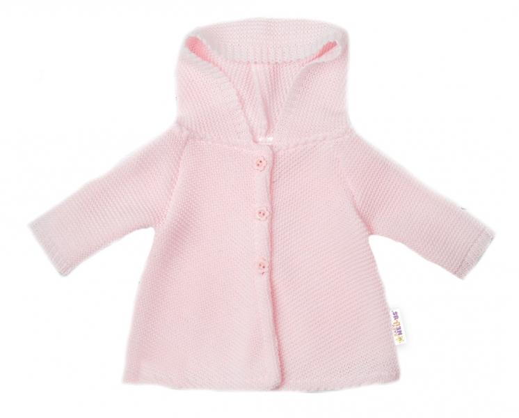 Baby Nellys Kojenecký svetřík s kapucí, áčkový střih - růžový, vel. 62