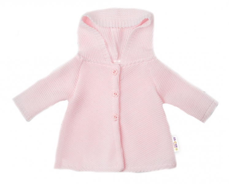 Baby Nellys Kojenecký svetřík s kapucí, áčkový střih - růžový, vel. 74