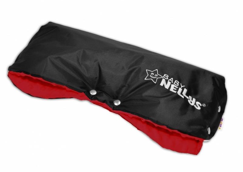 Rukávník ke kočárku Baby Nellys ® minky - sv. červená/černý