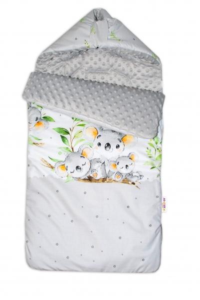 Bavlněný fusak Baby Nellys, minky, Medvídek Koala, 47 x 95 cm - šedý