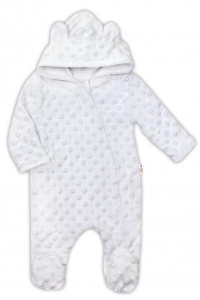 Baby Nellys Kombinézka/overálek MINKY s kapucí a oušky - bílá, vel. 74