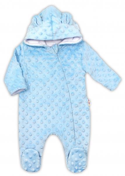 Baby Nellys Kombinézka/overálek MINKY s kapucí a oušky - modrá, vel. 74