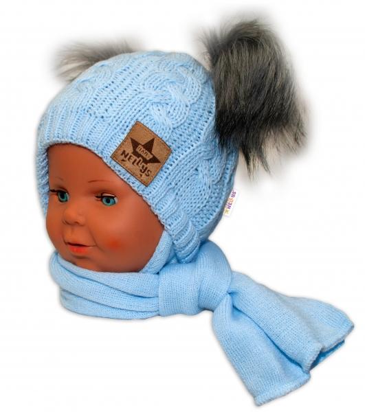 BABY NELLYS Zimní čepička s šálou - chlupáčkové bambulky - modrá, šedé bambulky