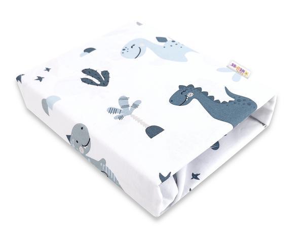 Baby Nellys Dětské bavlněné prostěradlo do postýlky - Dino, bílá/modrá, 140x70cm