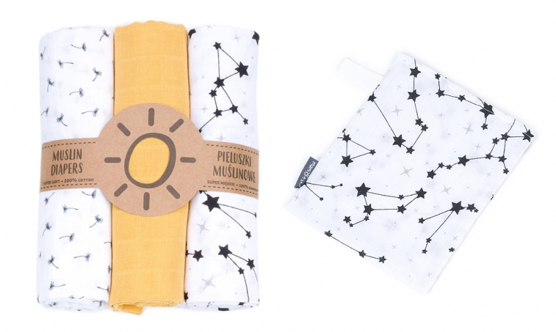 Mamo Tato Mušelínové plenky 3ks + žínka zdarma - vzor 1