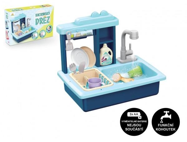 Dřez na mytí nádobí modrý + kohoutek na vodu na baterie plast s doplňky v krabici 46x