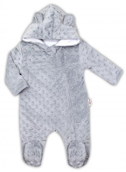 Baby Nellys Kombinézka/overálek MINKY s kapucí a oušky - šedá, vel. 74