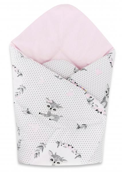 Baby Nellys  novorozenecká zavinovačka, Koloušek puntíky, 75x75cm , růžová