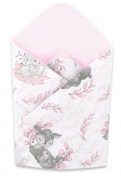 Baby Nellys  novorozenecká zavinovačka, LULU, 75x75cm , růžová