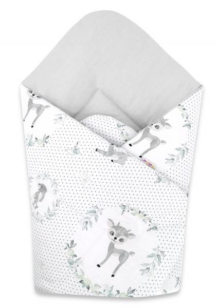 Baby Nellys  novorozenecká zavinovačka, Koloušek puntíky, 75x75cm , šedá