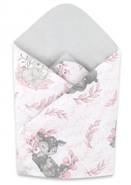 Baby Nellys  novorozenecká zavinovačka, LULU, 75x75cm, růžová, šedá