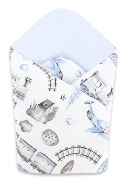 Baby Nellys  novorozenecká zavinovačka, Vláček, 75x75cm, bílá, modrá