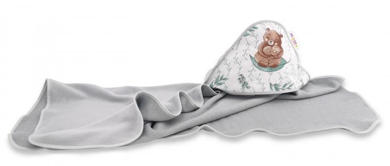 Dětská termoosuška s kapucí Baby Nellys, LULU natural, 100 x 100 cm, šedá