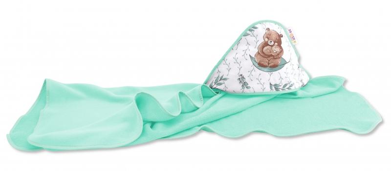 Dětská termoosuška s kapucí Baby Nellys, LULU natural, 100 x 100 cm, zelená