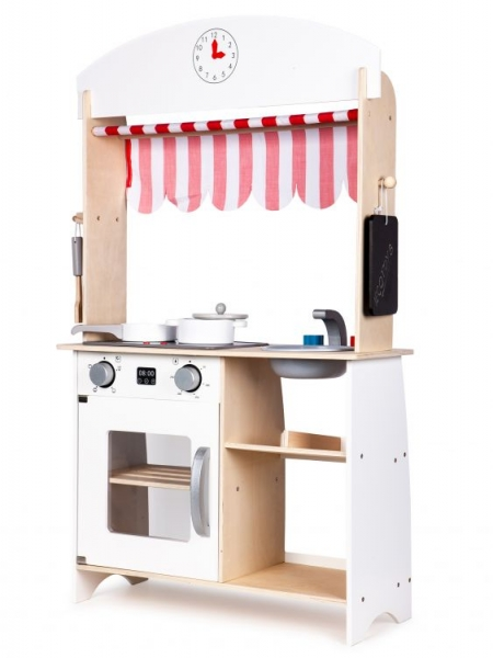 Eco Toys Dřevěná kuchyňka s příslušenstvím, 101 x 60 x 27 cm - bílá