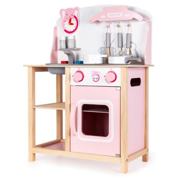 Eco Toys Dřevěná kuchyňka s příslušenstvím, 75 x 59,5 x 29,5 cm - bílá
