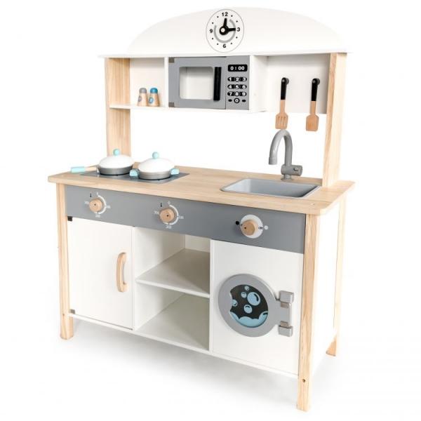 Eco Toys Dřevěná kuchyňka MAXI  s příslušenstvím, 79,5 x 30 x 97 cm - bílá